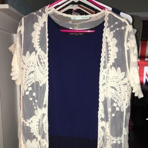 Blue top with white lacy overthrow